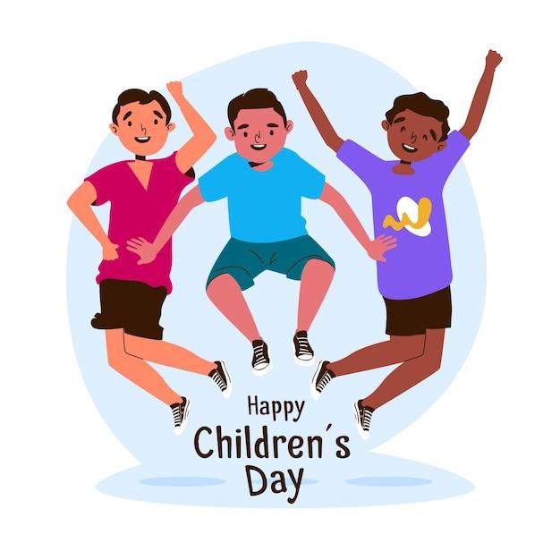 Design plano do dia mundial da criança Vetor grátis