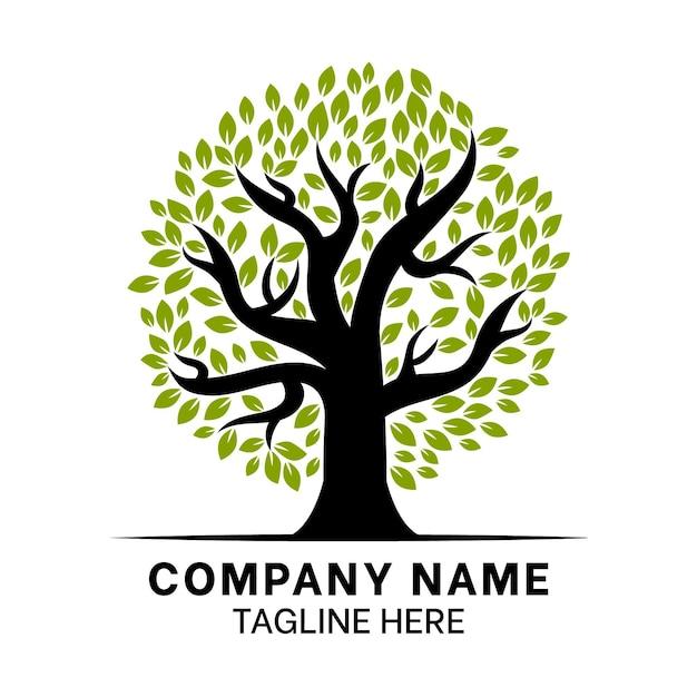 Design plano do logotipo da tree life Vetor Premium
