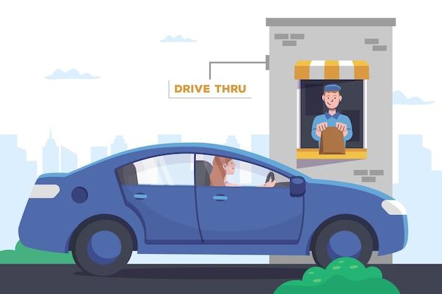 Design plano drive thru window com carro e trabalhador Vetor grátis