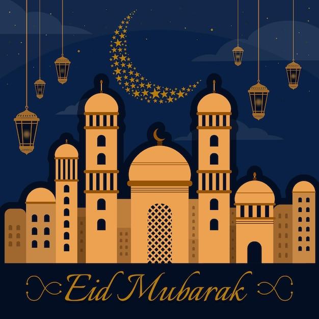 Design plano eid mubarak com mesquita, lua e velas Vetor grátis