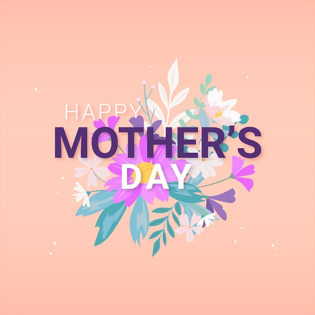 Design plano feliz dia das mães e buquê de flores Vetor grátis