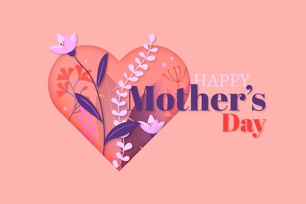 Design plano feliz dia das mães e coração Vetor grátis