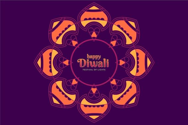 Design plano feliz flor festiva de diwali em tons de roxo Vetor grátis