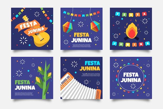 Design plano festa junina cartão guitarra e fogueira Vetor grátis