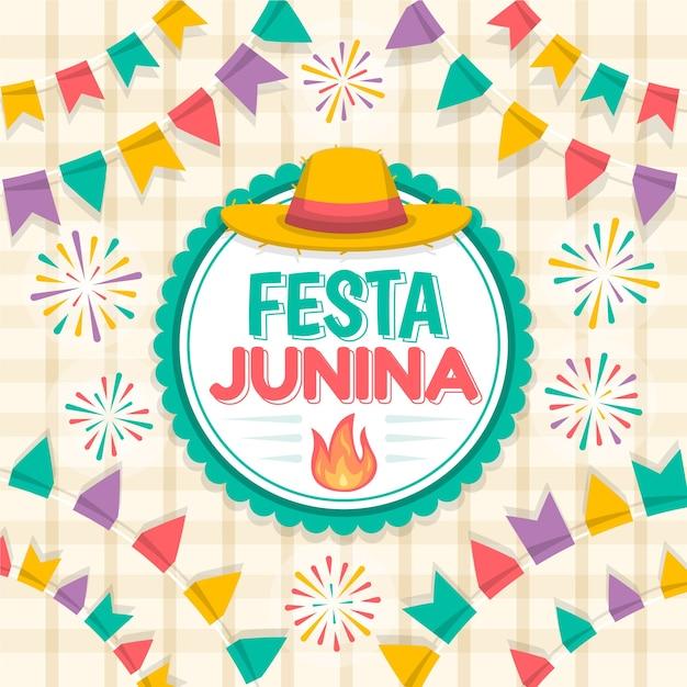 Design plano festa junina comemorando ilustração Vetor grátis