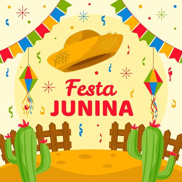 Design plano festa junina festa com guirlandas Vetor Premium