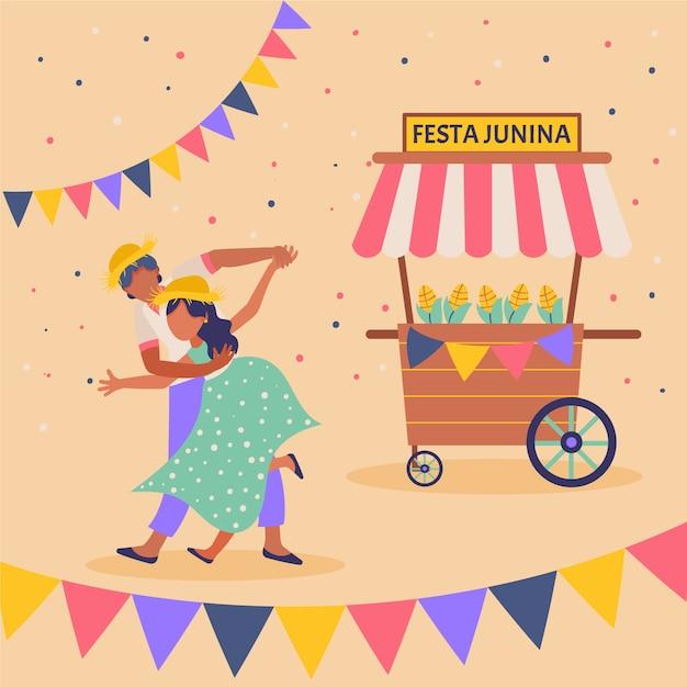 Design plano festa junina ilustração de homem e mulher Vetor grátis