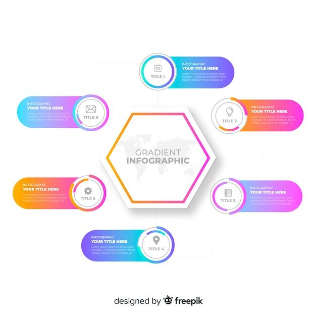 Design plano gradiente colorido infográfico Vetor grátis