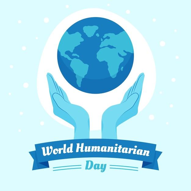 Design plano ilustrado dia mundial humanitário Vetor grátis