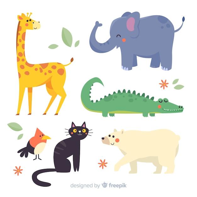 Design plano ilustrado pacote de animais fofos Vetor grátis