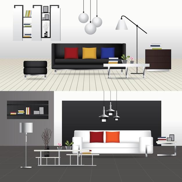 Design plano interior sala e mobília interior ilustração vetorial Vetor Premium