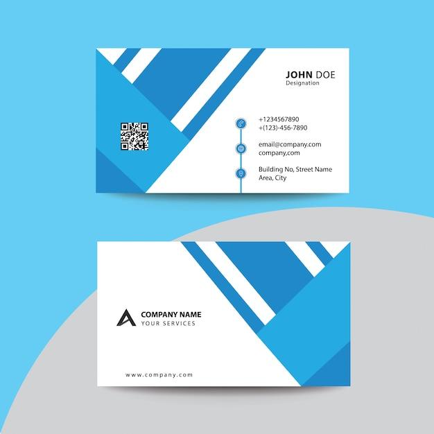 Design plano limpo preto azul céu cartão de visita superior empresarial Vetor Premium