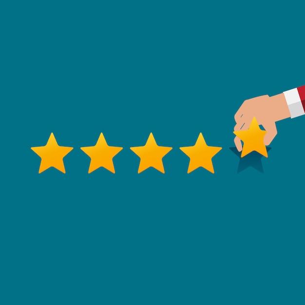 Design plano mão com classificação por estrelas. sistema de avaliação e sinal de revisão positiva. Vetor Premium