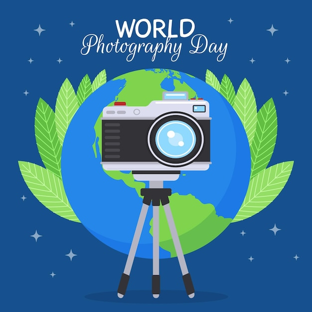 Design plano mundo fotografia dia evento ilustração Vetor grátis