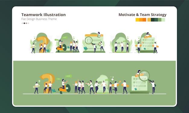 Design plano na coleção de ilustração do trabalho em equipe, motivação e estratégia de equipe Vetor Premium