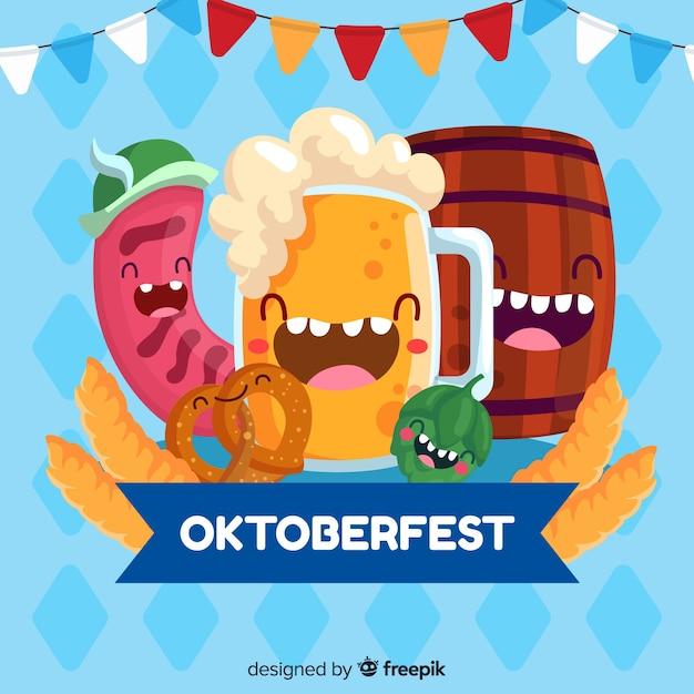 Design plano oktoberfest com elementos de festa feliz Vetor grátis