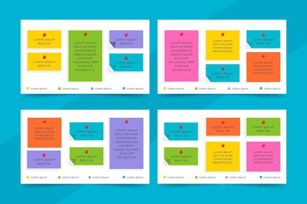 Design plano painéis de notas adesivas infográficos Vetor Premium