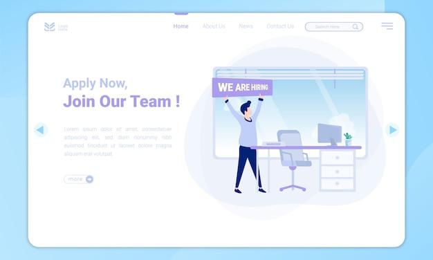 Design plano para ingressar na equipe, vagas de gerente na página de destino Vetor Premium