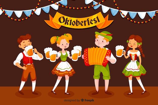 Design plano pessoas celebrando oktoberfest Vetor grátis