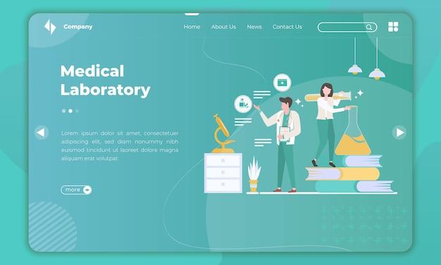 Design plano sobre laboratório médico no modelo de página de destino Vetor Premium
