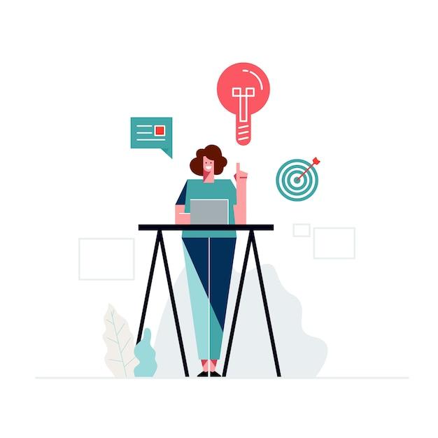 Design plano, sorrindo designer feminino ilustrações humanas grátis Vetor Premium