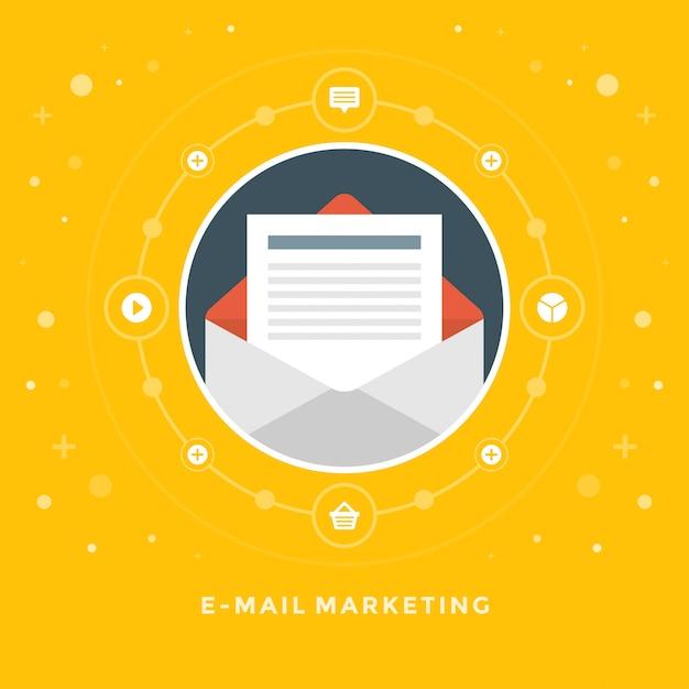 Design plano vector negócios ilustração conceito e-mail marketing Vetor Premium