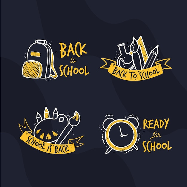 Design plano volta ao conjunto de etiquetas de escola Vetor grátis
