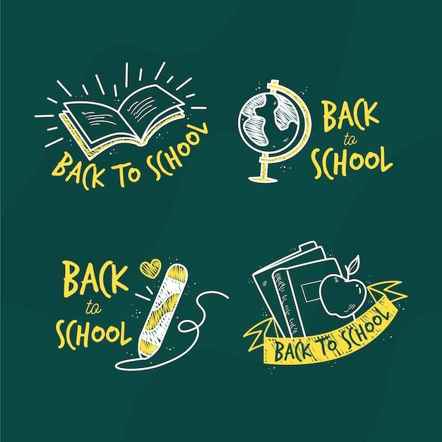 Design plano volta para coleção de etiquetas de escola Vetor grátis