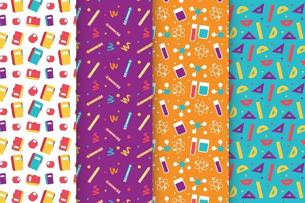 Design plano volta para coleção de padrão de escola Vetor grátis