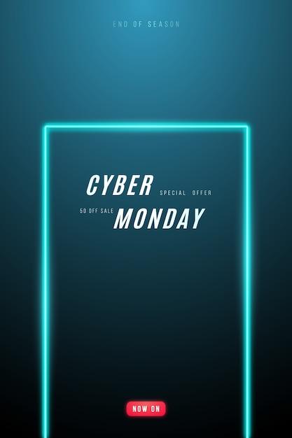 Design promocional da cyber monday. Vetor Premium