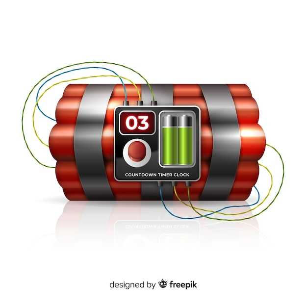 Design realista de bomba-relógio vermelho Vetor grátis