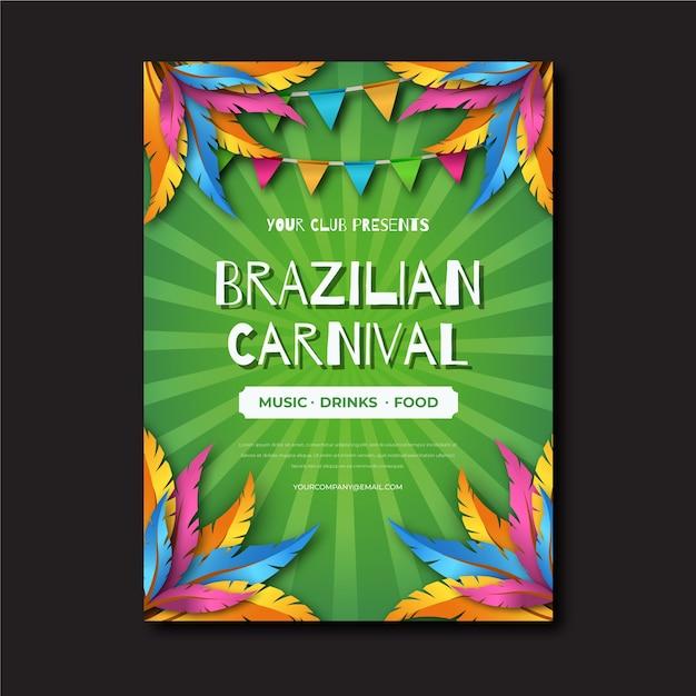 Design realista para modelo de cartaz de carnaval brasileiro Vetor grátis