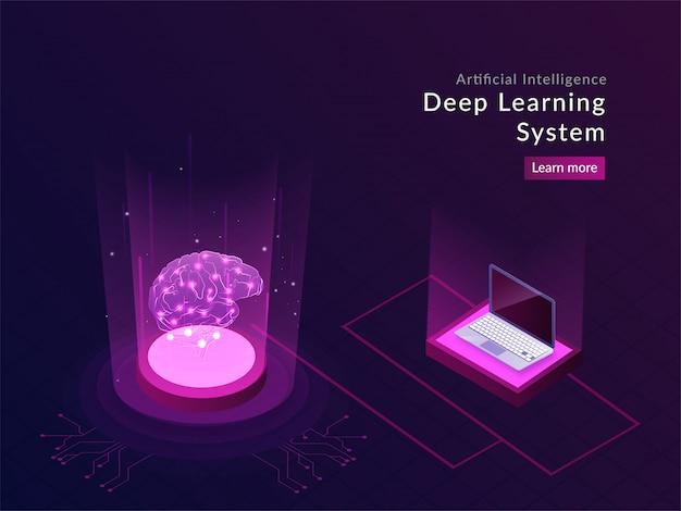 Design responsivo da página da aterrissagem da inteligência artificial Vetor Premium