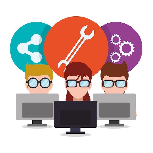 Design responsivo da web para desenvolvedores Vetor Premium