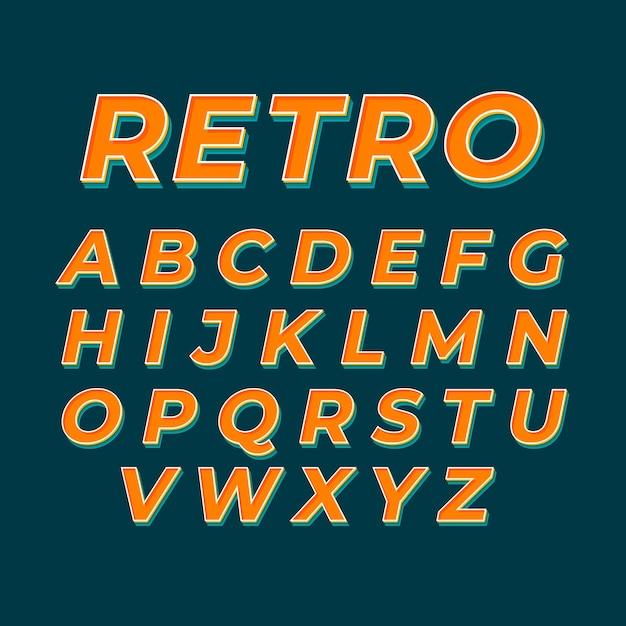 Design retro 3d de alfabeto Vetor grátis