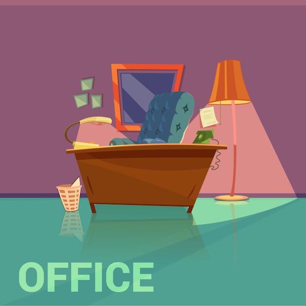 Design retrô de escritório com desenhos animados de poltrona e telefone de lâmpada Vetor grátis