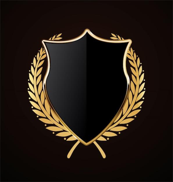 Design retrô de escudo dourado Vetor Premium