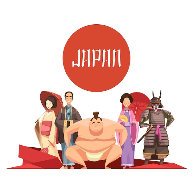 Design retro dos desenhos animados de pessoas japonesas com o homem e as mulheres no lutador de sumo de samurai de vestuário nacional Vetor grátis