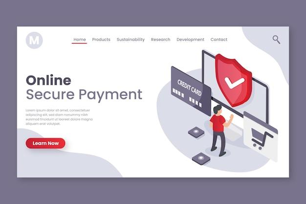 Design seguro da página de destino do pagamento Vetor grátis