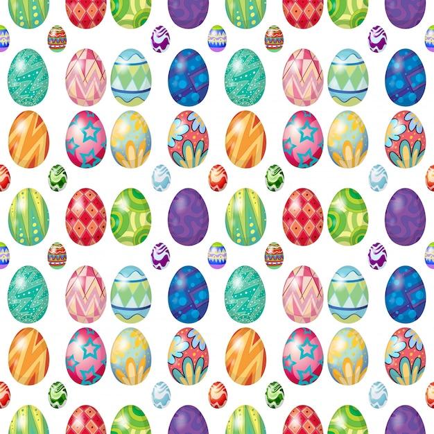 Design sem costura com ovos de páscoa Vetor grátis