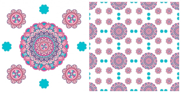 Design sem costura com padrão de mandalas coloridas Vetor grátis