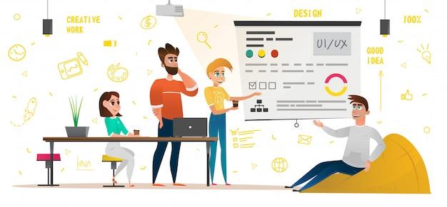 Design studio banner cartoon pessoas trabalho criativo Vetor Premium