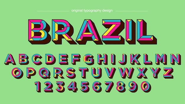 Design tipografia retrô negrito colorido Vetor Premium