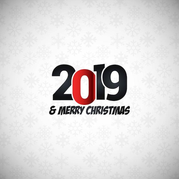 Design tipográfico de ano novo de 2019 Vetor grátis