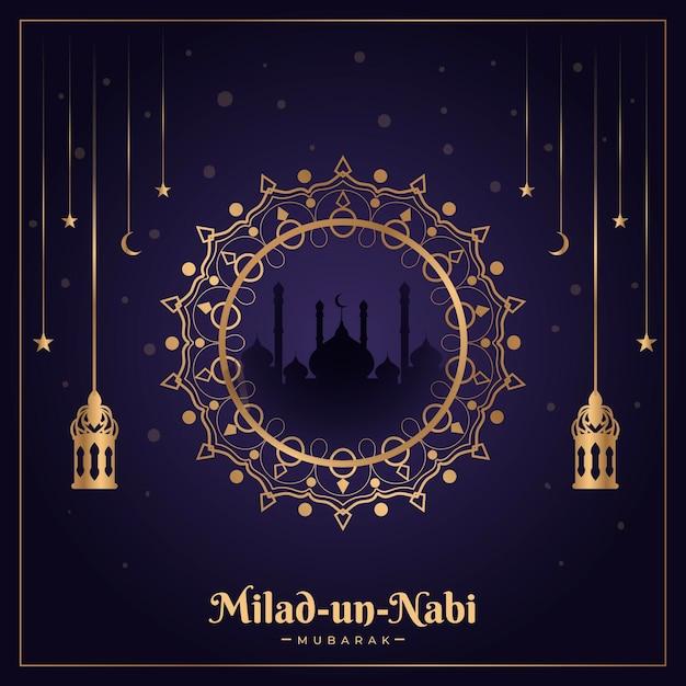 Design tradicional do cartão milad-un-nabi Vetor grátis