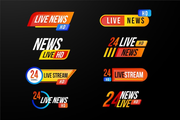 Design variado para banners de notícias de transmissões ao vivo Vetor Premium