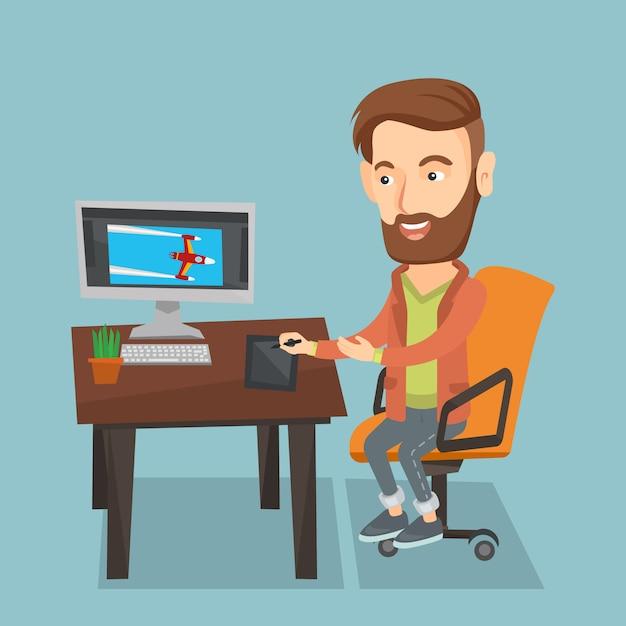 Designer usando a mesa digitalizadora digital. Vetor Premium