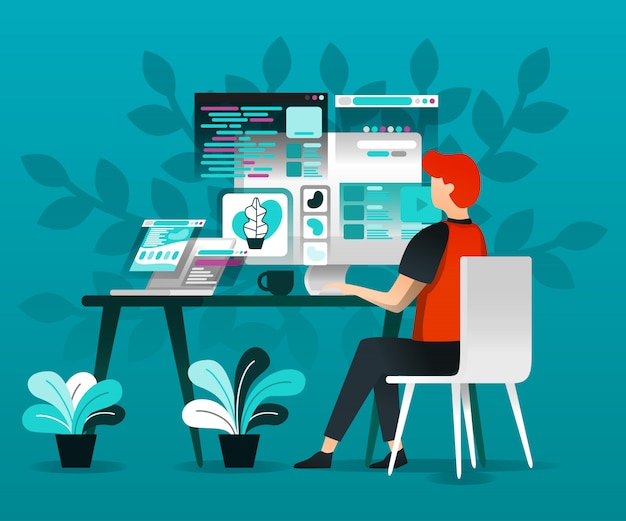 Designers trabalham com internet Vetor Premium
