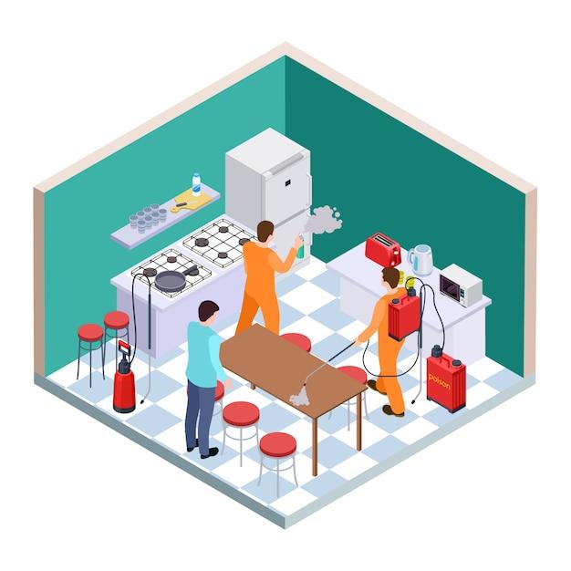 Desinfecção de cozinhas. controle isométrico de pragas. equipe de serviço de desinfecção vetorial Vetor Premium