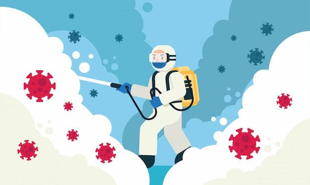 Desinfecção e limpeza de lares e meio ambiente por um homem em ilustração de roupa de segurança branca Vetor Premium